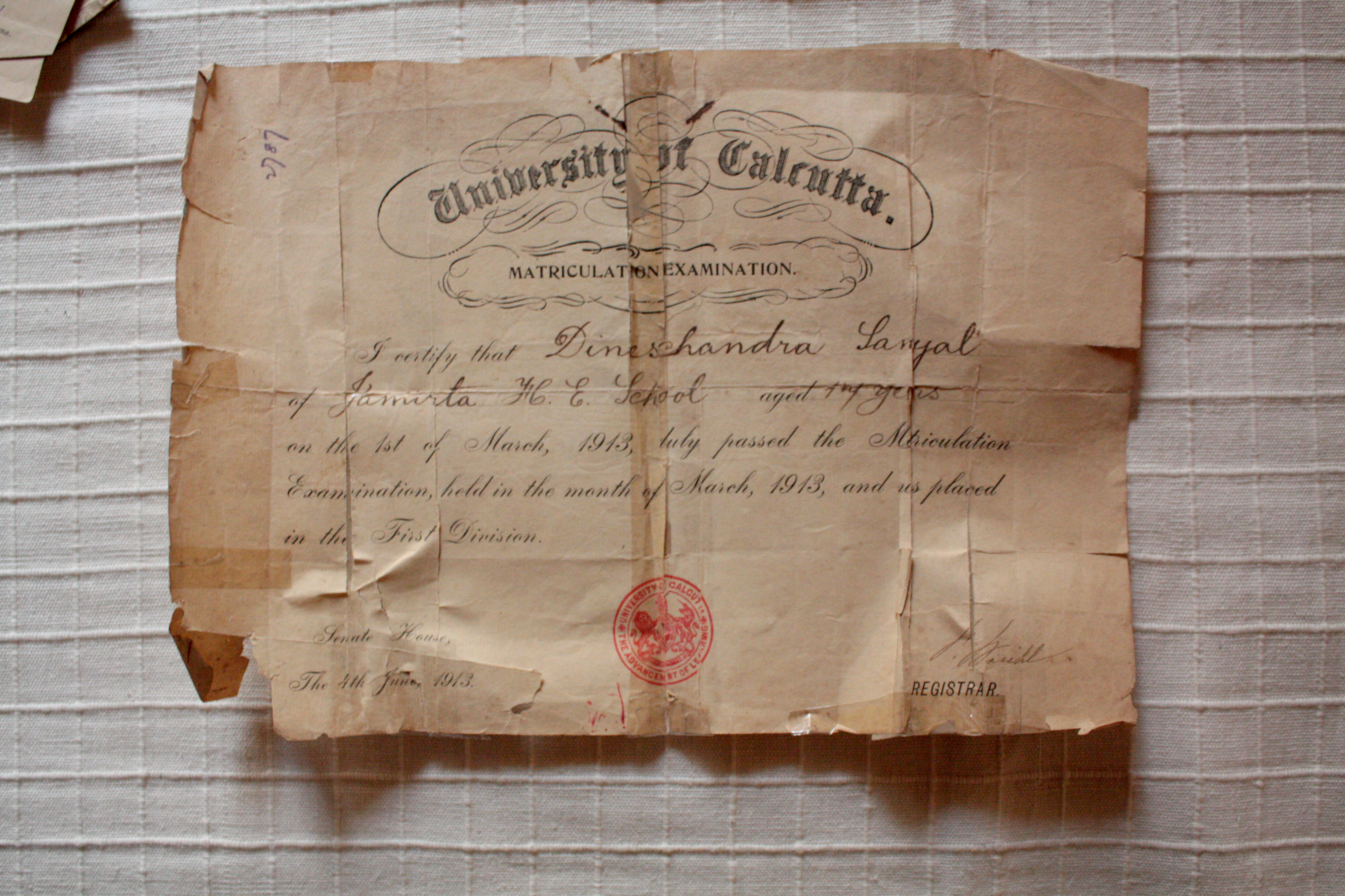 Sunil Chandra Sanyal_father's matriculation certificate from Calcutta University, 1913